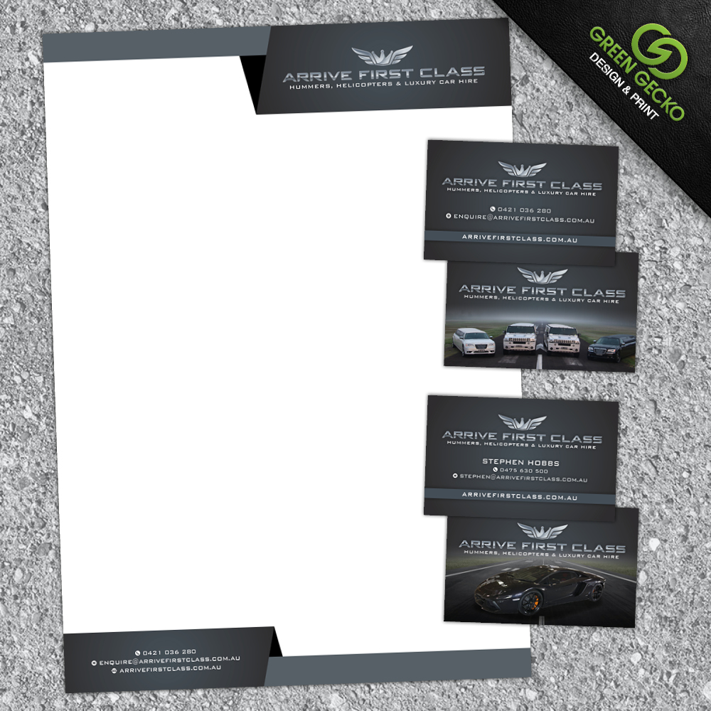 business card and letterhead designs for arrive first class